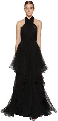 Alberta Ferretti Long Layered Tulle Dress