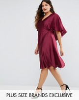 Truly You Satin Dress With Keyhole Cape Back Detail