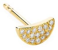 Celara 14K Yellow Gold & Diamond Pave Half Moon Single Stud Earring