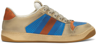 Gucci Blue and Orange Screener Sneakers