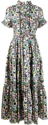 La DoubleJ Printed Maxi Shirt Dress