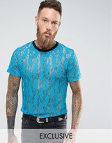 Reclaimed Vintage Inspired T-Shirt In Blue Lace