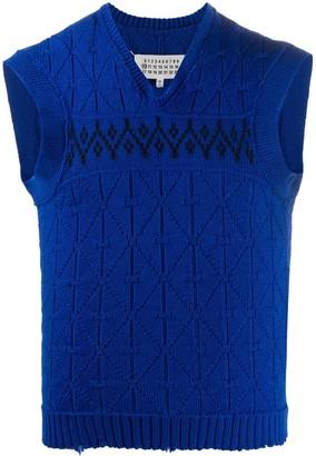Maison Margiela distressed argyle V-neck vest