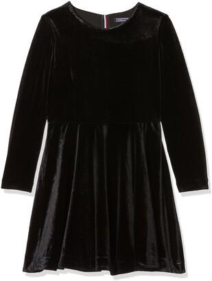 Tommy Hilfiger Girl's H Solid Velvet Dress L/s