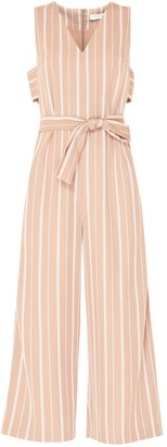 Paisie Striped Jumpsuit With Side Cut Outs With Self Belt In Dusty Pink & White