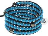 "Gem Stone King 36"" Blue Simulated Turquoise & Skeleton on Black Leather Wrap Bracelet w/ Button"