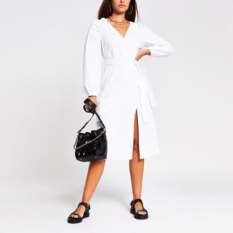 River Island White puff sleeve midi wrap dress