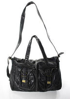 Sissi Rossi Sissirossi Black Leather Threaded Double Handle Messenger Crossbody Handbag