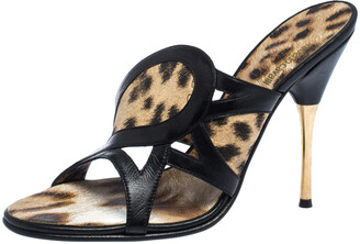 Roberto Cavalli Black/Brown Leather And Leopard Print Fabric Cut Out Sandals Size 39