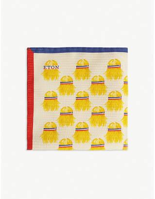 Eton Tennis player print silk-blend pocket square