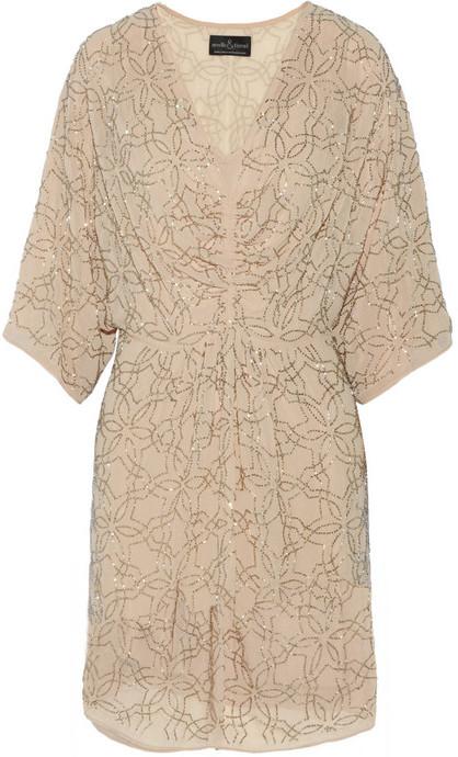 Needle & Thread Geo Petal beaded georgette mini dress