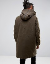 Asos Cut & Sew Parka With Back Embroidery In Khaki