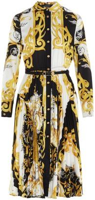 Versace Baroque Pleated Dress