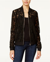 Say What Juniors' Lace Bomber Jacket