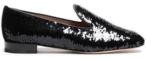 Stuart Weitzman Leather-trimmed Sequined Cotton-blend Loafers
