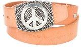 Lucien Pellat-Finet Leather Peace Sign Belt
