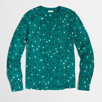 J.Crew Factory Factory printed pleated blouse