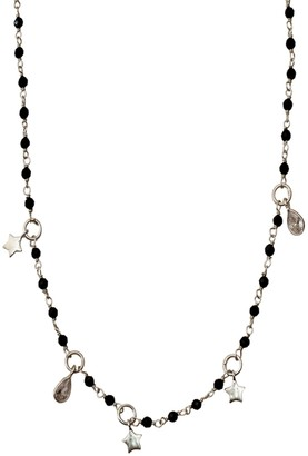 ADORNIA White Rhodium Plated Sterling Silver Black Spinel Beaded Star & Crystal Charm Rosary Necklace