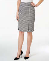 Kasper Houndstooth Pleated Pencil Skirt