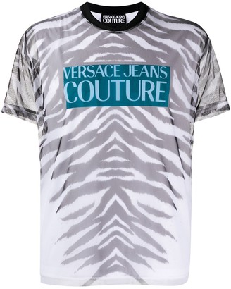 Versace tiger print sheer T-shirt