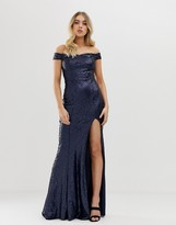 Club L London all over sequin bardot thigh split maxi dress