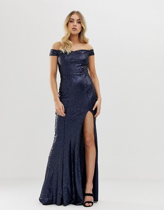 Club L London all over sequin bardot thigh split maxi dress-Navy