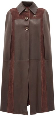 Gucci GG-logo Leather And Suede Cape - Brown