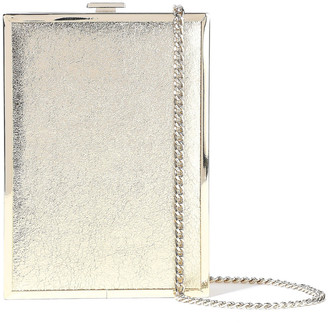 Halston Frame Minaudiere Metallic Cracked-leather Box Clutch