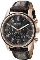 Ingersoll Quartz Men's Quartz Watch with Black Dial Chronograph Display and Brown Leather Strap INQ040BKRS