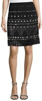 St. John Beaded A-Line Mini Skirt, Black