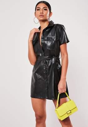 Missguided Petite Black Faux Leather Shirt Dress