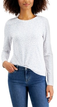 Style&Co. Style & Co Painted Hearts Printed Long-Sleeve T-Shirt, Created for Macy's