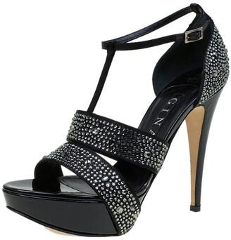 Gina Black Crystal Embellished Leather T Strap Platform Sandals Size 38