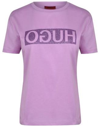HUGO BOSS Glitter Print Reversed Logo T-Shirt