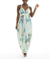 Shoreline Women's Maxi Dresses MINT - Mint Abstract Halter Empire-Waist Dress - Women & Plus