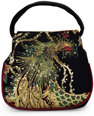 Ella & Elly Women's Handbags Black - Black Sequin Embroidered Peacock Satchel