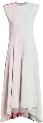 Alejandra Alonso Rojas Colorblock Leather Midi Dress