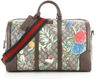 Gucci Convertible Duffle Bag Tian Print GG Coated Canvas Medium