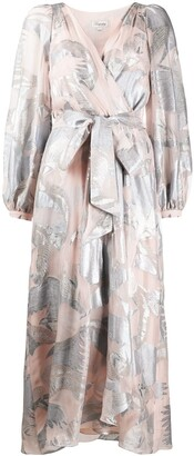 Temperley London Surplice Metallic Jacquard Midi Dress