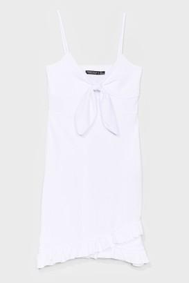 Nasty Gal Womens Tie Candy Ruffle Mini Dress - White - 4, White
