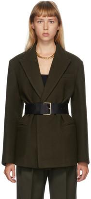 DRAE Khaki Wool Belted Blazer