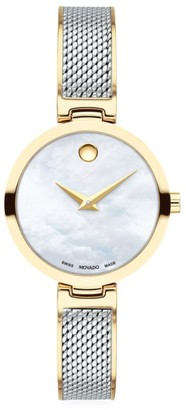 Movado Amika Yellow Gold PVD-Plated, Stainless Steel & Mesh Bangle Watch