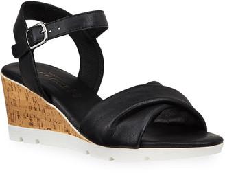 Sesto Meucci Mason Leather Cork Wedge Comfort Sandals