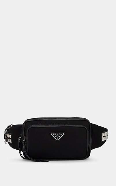 Prada Women's New Vela Leather-Trimmed Belt Bag - Black