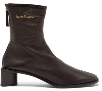 Acne Studios Bertine Logo-print Square-toe Leather Boots - Black