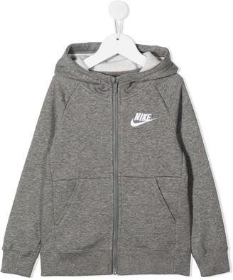 Nike Kids Logo Print Zip-Up Hoodie