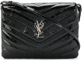 Saint Laurent Loulou Monogramme Patent Leather Strap Clutch Bag