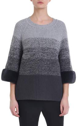 Fendi Degrade Wool-Cashmere Mink Cuff Sweater