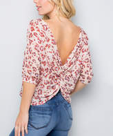 Acting Pro Women's Blouses OATMEAL - Oatmeal & Red Backless Braid-Accent Three-Quarter Sleeve Pullover Top - Women