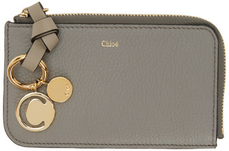 Chloé Grey Alphabet Zip Around Card Holder